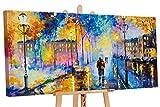 YS-Art Acryl Gemälde Romantischer Abend | Handgemalt | 130x70cm | Wand Bild | Moderne Kunst | Leinwand | Unikat | Blau