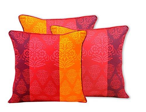 Shalinindia indischen Spring Decor Print Kissen Kissenbezug–Set von 3–100Prozent Baumwolle–200Fadenzahl–Perfekt für Sofas und Betten–maschinenwaschbar, baumwolle, Multi_2, 16 x 16 Inch (Damast Bett-set Königin)
