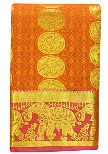 SARAVANABAVA SILKS Women's Art Silks Saree With Blouse (SRBS000587 _Mango Yellow_ Free Size)