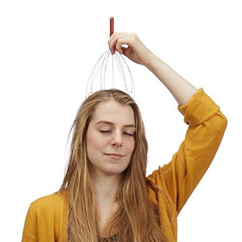 Relaxdays Kopfmassagegerät, 12 Ausleger mit Noppen, Massagegerät für manuelle Kopfmassagen, Kopfspinne, Metall, rot