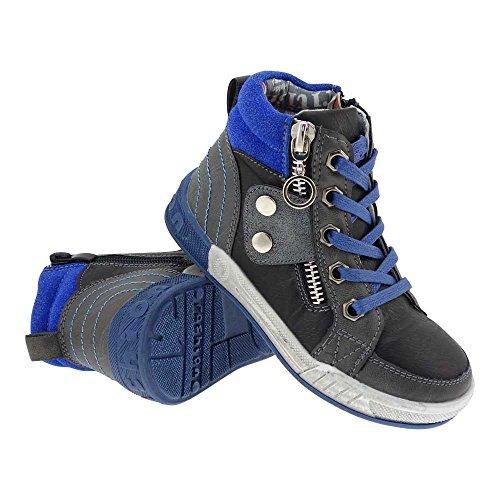 GALLUX - Kinder hohe Sneaker coole Schuhe mit Reißverschluss Applikation Schwarz