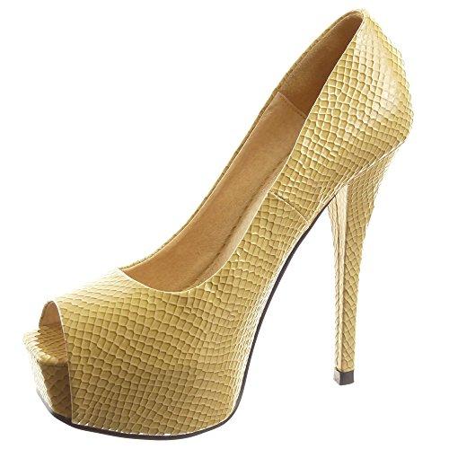 Sopily - Scarpe da Moda scarpe decollete stiletto zeppe alla caviglia donna lucide verniciato pelle di serpente Tacco Stiletto tacco alto 14 CM - Beige WLDB1-290-62 T 39
