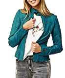 EGOMAXX Damen Lederjacke Übergangsjacke Biker Leder Optik, Farben:Petrol, Größe Damen:36 / S