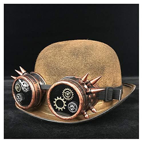 Wenquan-caps, 2019 Neue Hüte Vintage Lolita Damen Steampunk Dome Hut Brille Zylinderhut Cosplay Hut (Farbe : Gold JD, Größe : 57-58 cm)
