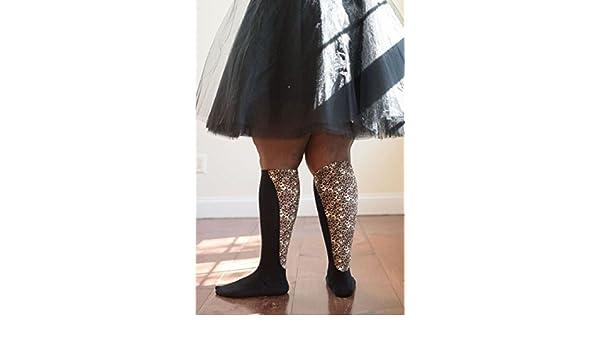 8e59b6ba67 Xpandasox Women's Lymphedema Cotton Blend Leopard Knee High Socks Size 7-9  Fits Shoe Size 8-10 Black: Amazon.co.uk: Clothing