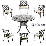 Aluguss Gartenmöbel Set, Gartenmöbelgarnitur bestehend aus Gartentisch Ø 106 cm und (6 Gartenstühle)