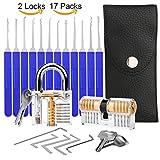 Lockpicking Set, Aimego 17-Teiliges Dietrich Set mit 2 Transparentem Trainingsschlössern für Anfänger und Pro-Schlosser zum Üben