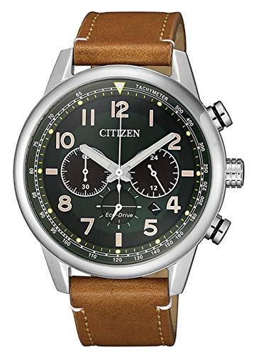 Citizen Herren Analog Quarz Uhr mit Leder-Kalbsleder Armband CA4420-21X