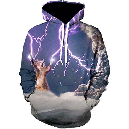 Unisex Grafik Hoodies, 3D Digitaldruck Kapuzenpullover Tops Leichtgewichtig Langarm Hoody Sweatshirt mit Große Kängurutasche Größe:XS-XXXXL (Blitz Katze, EU S(Tag L)) (Langarm Mädchen Tie Dye)
