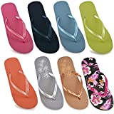 DINZIO Ladies Girls Plain Summer Beach Flip Flop Pool Shoes