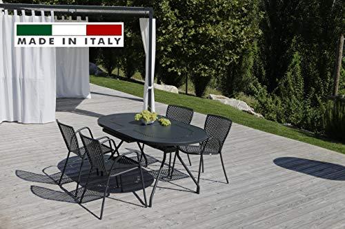 RD ITALIA Set Table Reef Extensible Ovale et 6 chaises métal pour extérieur Jardin terrasse Balcon
