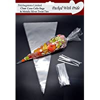 "PACK OF 50 - CLEAR CONE SHAPE CELLOPHANE SWEET / PARTY BAGS 14.5"" x 7"" (368mm x 177mm)   WITH 4"" METALIC SILVER TWIST TIES"