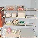 Baoyouni Estantería de acero inoxidable ajustable para armario, estantería extensible para organizar el cuarto de baño, la cocina, la nevera, Extendable Length: 99-153cm