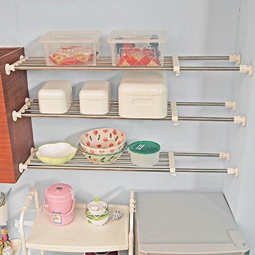 Baoyouni Estantería de acero inoxidable ajustable para armario, estantería extensible para organizar...