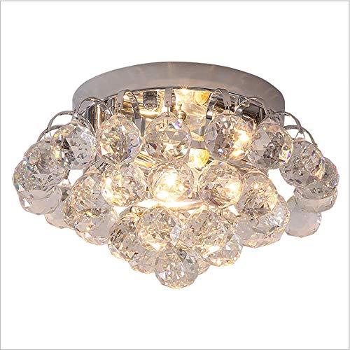 SELMAL Crystal Ceiling Light, Flush Mount Crystal Ceiling Light Chandelier mit Transparent Ball Perlen Crystal für Schlafzimmer Hotel Living Room Study Room,LEDwarmlight,30 * 18cm - Crystal Ceiling Mount