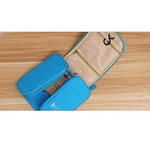 tenshing impermeable bolsas de aseo de viaje Multi bolsillos con cremallera de viaje bolsas de lavandería para hombre Mujer Niños, luz azul