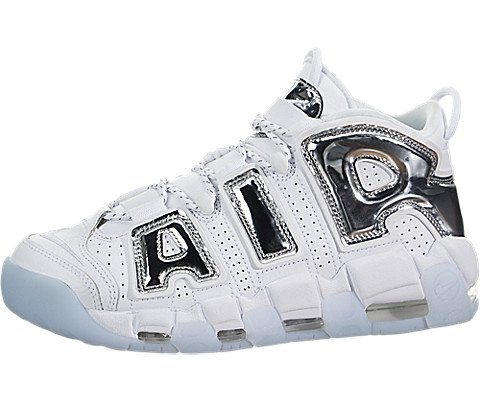 Nike Women's Air More Uptempo Basketball Shoes, White (White/Chrome/Blue  Tint