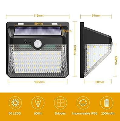iposible Solarleuchte für Außen,【Innovative Version-2 Stück】 60 LED Solarlampen mit Bewegungsmelder Wasserdichte 2000mAh Solar Beleuchtung LED Solar Wandleuchte mit 3 Modi Solarlicht für Garten,Patio