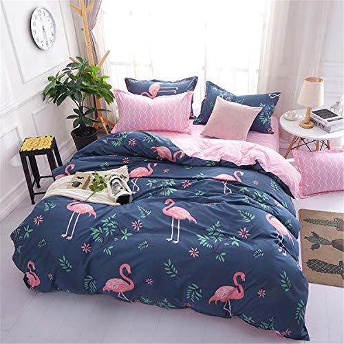 WONGS BEDDING 2-teiliges Bettwäsche-Set für Einzelbetten, tropisches Flamingo-Muster, wendbar, Blau und Rosa, Bettbezug-Set für Mädchen mit 2 Kissenbezügen 135 * 200 cm Flamingo-muster