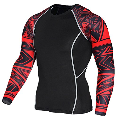 MISSMAO Men's Super Thermal Compression Base Layer Long Sleeve Cold Wear Top For Sport Gym Training
