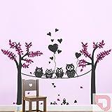 DESIGNSCAPE® Wandtattoo Landschaft mit lustigen Eulen mit Bäumen, Blättern und Herzen 180 x 129 cm (Breite x Höhe) Farbe 1: pastell-rosa DW808058-L-F98