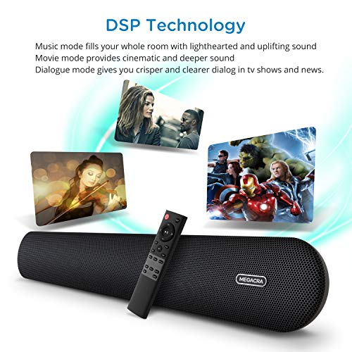 51BjZYPyw2L. SS500  - Soundbar, MEGACRA 80 Watts TV Sound Bar Home Theater Speaker with Dual Connection Way, Bluetooth 5.0, Movie/Music…