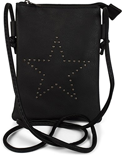 styleBREAKER Mini Bag Umhängetasche mit Nieten in Stern Form, Schultertasche, Handtasche, Tasche, Damen 02012235, Farbe:Schwarz