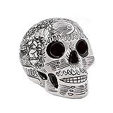 Crâne mexicain en céramique - Tête de Mort décorée grande - blanche