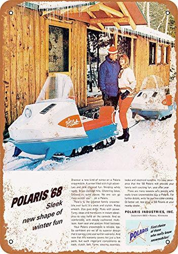 MNUT 1968 Polaris Snowmobiles Cartel de Metal de Gran Aluminio de estaño de 8 x 12 Pulgadas