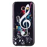 ISAKEN Compatibile con Samsung Galaxy A5 2017 Custodia (No Strap) - Ultra Sottile Morbido TPU Cover Protezione Posteriore Case Antiurto Nero Bumper Soft Sollievo TPU Backcover, Musica