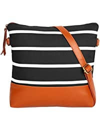 Suprino Beautiful Printed Canvas Sling Bag For Girls/Women,s (black)