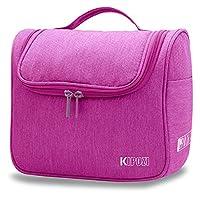 KIPOZI Travel Hanging Toiletry Bag Make Up Wash Bags Toiletries organiser Shaving Bag with Extra Hook for men & women / ladies,Water-resistan(Fushcia)