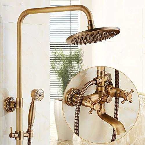 BTSSA Europäischer Stil Duschset,Retro Handbrause Duschpaneel System Duschschlauch Badezimmer Höhenverstellbar 92~135cm