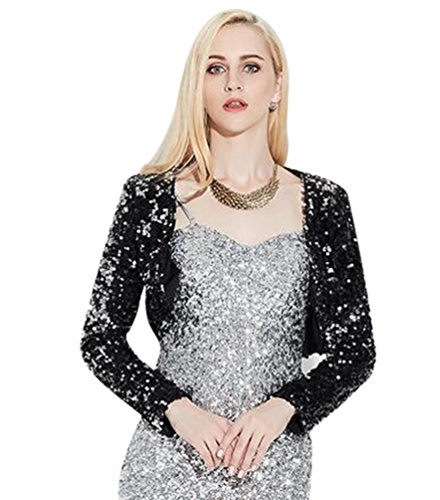 NiSeng Damen Pailletten Langarm Bolero Jacke Mode Pailetten Cardigan Jacke Schwarz (Silber-abend-jacke)