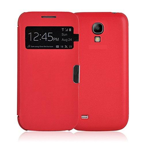 Samsung Galaxy S4 Smart View Hülle | JAMMYLIZARD Sichtfenster Schutzhülle Flip Case Handyhülle Cover mit S-View Funktion, Rot