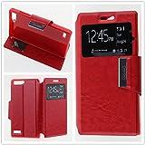 MISEMIYA - Funda Huawei Ascend G6 4G / Huawei Ascend G535 / Huawei Ascend P7 MINI / Orange Gova - Funda Solo, Libro View Sporte,Rojo