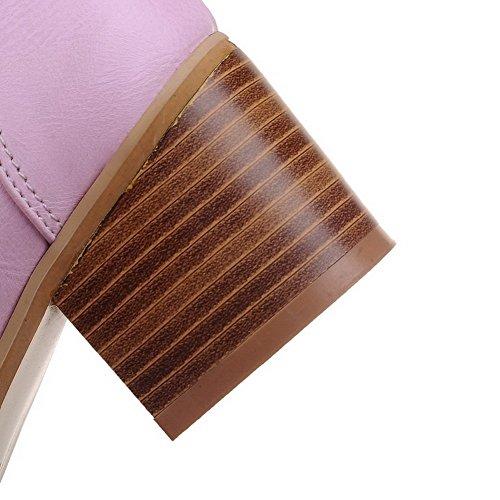 VogueZone009 Femme à Talon Correct Couleur Unie Tire Rond Chaussures Légeres Violet