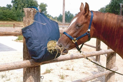 Foin Sac | heutasche | Filet à foin | Sac |sack pour sac à foin – Foin Avec Ouverture Fress et crochets de suspension, bleu