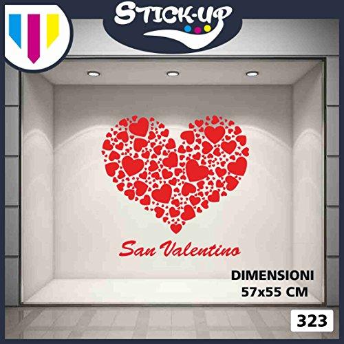 Vetrofanie sanvalentino adesivi sanvalentino - cuore di cuori san valentino - decorazioni per sanvalentino adesivi e vetrofanie sanvalentino, vetrine negozi, stickers (rosso)