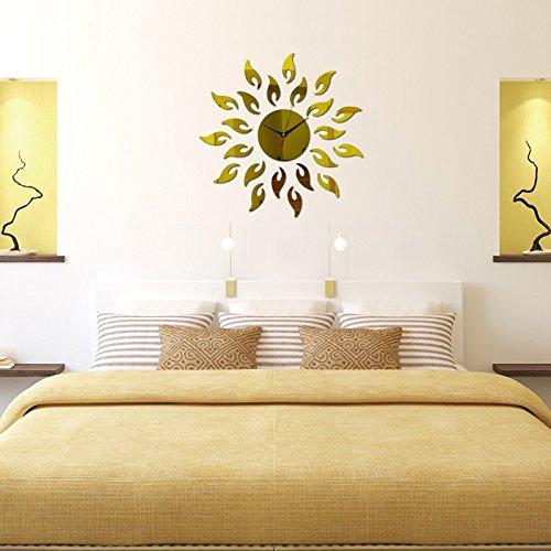 3D-dekorative Spiegel Wanduhren romantische Wandaufklebern Schlafzimmer Einrichtung Wohnzimmer Wand Aufkleber Removable Vinyl Aufkleber Kunst Wandbilder, Gold (Vinyl-wohnzimmer)