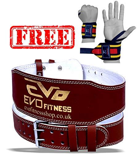 """EVO Fitness - Gewichtheber Gürtel 6"""" aus Reinem Leder Bodybuilding Rücken Unterstütung Bandage - M"""