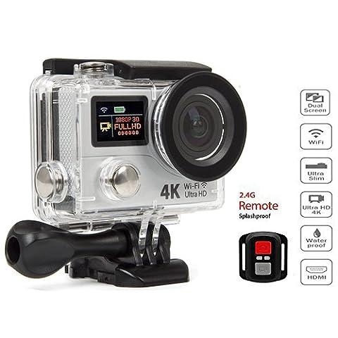 4K Ultra HD WiFi & HDMI Action Sport Caméra sport DV Double écrans LCD et étanche poignet remote-wifi Cam dv-wrist remote-extra battery-carrying Case-20Accessoires Inc (Noir)