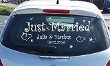 Just Married Autoaufkleber Wandtattoo Hochzeit Dekoration in 21 Farben.Bitte senden Sie uns Ihre Farb und Namen-Angaben nach dem Kauf in einer Nachricht