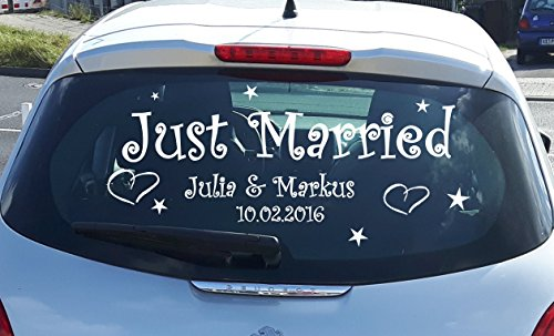 Just Married Autoaufkleber Wandtattoo Hochzeit Dekoration