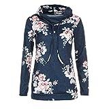 SUNNSEAN Damen Sweatshirt Pullover Blume Drucken Frauen Oberteile Hoodie Tuniken Lose Tops Lässige Stilvolle Bluse Straße Lange Hülsen