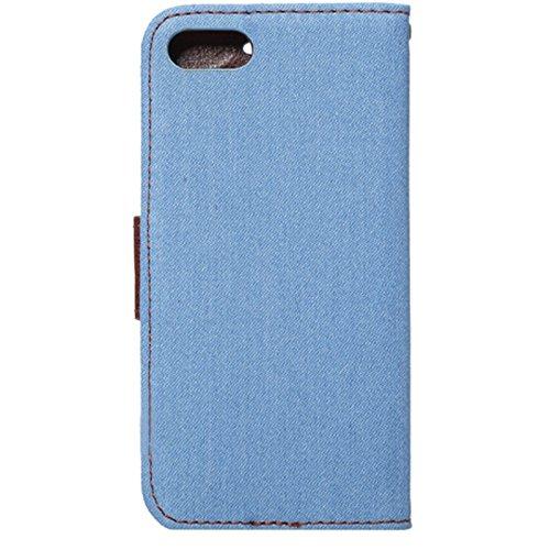 Linyuan Bonne qualité 4.7inch Slim Flip Denim Stand Case Protective Skin Cover for iPhone 7 Dark Blue