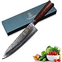 YARENH Cuchillo Cebollero 20cm Mejores Cuchillos de Cocina Profesionales Japoneses Damasco Acero cuchillo santoku global cuchillos japoneses profesionales Hachas de cocina profesional