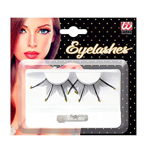 WIDMANN Eyelashes Maxi Spikes W/Gold Glitter Tips Black
