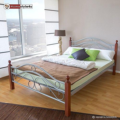 Homestyle4u Metallbett 180 x 200 Bettgestell Doppelbett Bettrahmen + Lattenrost 803 silber