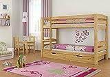 Erst-Holz® Etagenbett Kiefer-Massivholz Natur 90x200 Stockbett Rollroste Matratzen Bettkästen 60.10-09 M S2